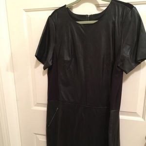 NWT AUTHENTIC HALOGEN BLACK SOFT LEATHER DRESS